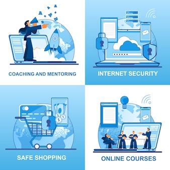 Set di icone vettoriali di coaching e sicurezza mentoring.