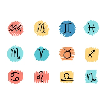 Set di illustrazioni vettoriali in stile piatto e semplice di segni astrologici colorati