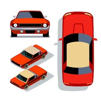 Vetture in stile piatto vettoriale in diverse viste. illustrazione isometrica di vista 3d della berlina rossa dell'automobile del muscolo