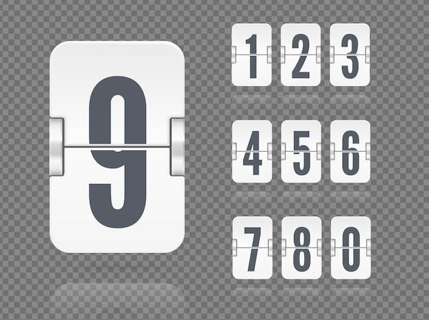 Modello di tabellone segnapunti flip galleggiante vettoriale con numeri e riflessioni per timer conto alla rovescia bianco o calendario isolato su sfondo trasparente scuro.