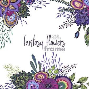 Cornice floreale vettoriale con mazzi di fiori, piante e rami di fantasia disegnati a mano. bellissimo modello per inviti, biglietti di auguri.