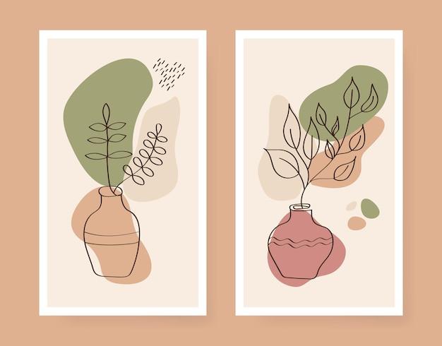 Poster floreale vettoriale in stile artistico a una linea vaso e foglie delineano decore