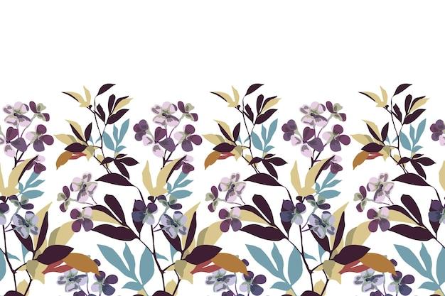 Bordo floreale senza cuciture di vettore delicati fiori viola rami foglie