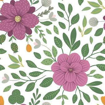 Reticolo floreale senza giunte illustrazione piatta alla moda con fiori, foglie, rami. motivo ripetuto con prato, bosco, piante forestali.