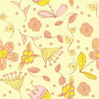 Reticolo floreale senza giunte di vettore con fiori che sbocciano astratti