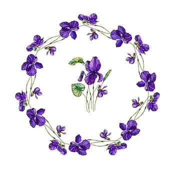 Corona floreale di vettore dei fiori delle viole. Vettore Premium