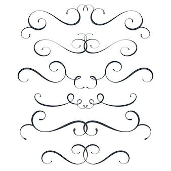 Set di fioriture vettoriali per la raccolta di scorrimento arricciatura elementi di decorazione vintage decoro superiore e inferiore