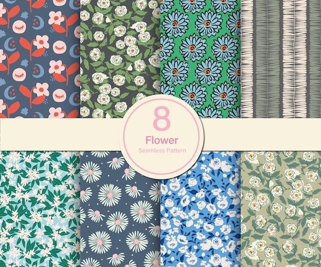 Illustrazione di tema botanico di fiori vettoriali 8 tipi di raccolta di modelli ripetuti set cucina e casa