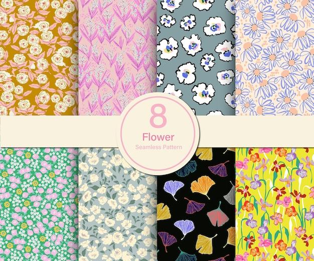 Illustrazione di tema botanico del fiore di vettore 8 tipi di collezione di modelli ripetuti set cucina stampa