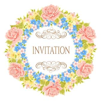 Corona di fiori di vettore. elemento floreale decorativo per la progettazione di inviti, biglietti di auguri. cornice floreale.
