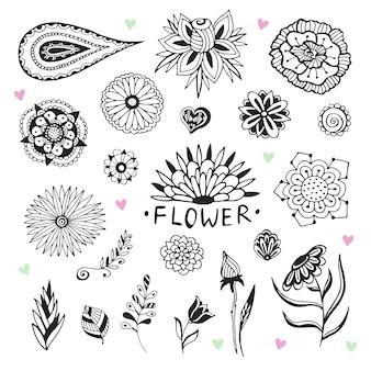 Collezione di fiori vettoriali in stile zentangle