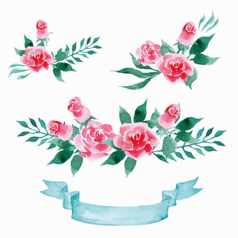Set di fiori vettoriali collezione floreale colorata con foglie e fiori che disegnano acquerello