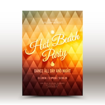 Modello di disegno vettoriale flyer hot beach party