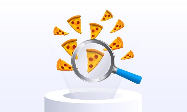 Pizza volante vettoriale attraverso una lente di ingrandimento pagina di caricamento di banner di concetto cibo ricerca di generi alimentari
