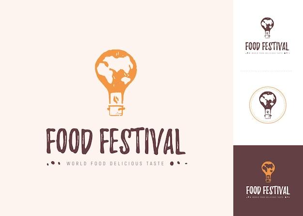 Modello di logo del festival alimentare vettoriale in diverse varianti di colore isolate. ristorante, bar, catering, design dell'emblema del servizio di ristorazione. mongolfiera, icona di pentola in stile di stampa grunge.