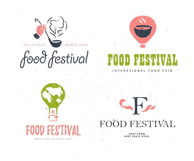 Varianti stabilite del modello di logo di festival dell'alimento di vettore isolate. ristorante, bar, catering, design dell'emblema del servizio di ristorazione. paletta e fumo della tenuta della mano umana, mongolfiera, illustrazione di forma della terra.