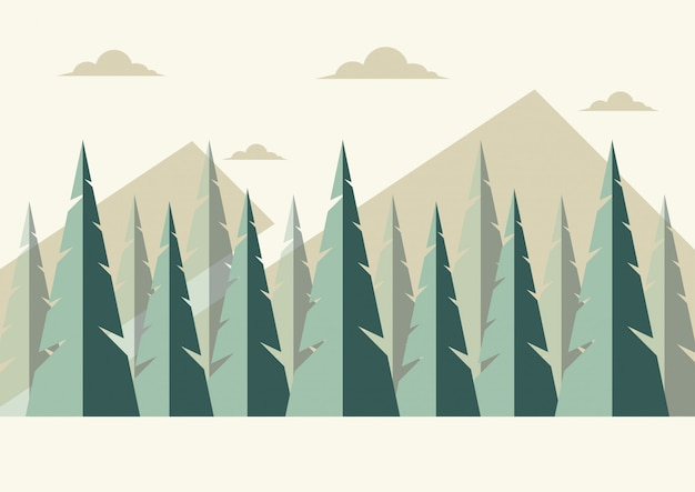Vector foresta sullo sfondo