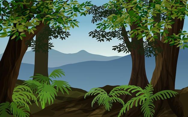 Illustrazione della foresta di vettore con la montagna