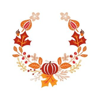 Cornice vettoriale ghirlanda di bouquet autunnali foglie bacche isolate su sfondo bianco per il giorno del ringraziamento