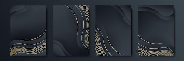 Cornice vettoriale per testo grafica d'arte moderna per hipster. sfondo nero geometrico elegante cornice dinamica con oro. elemento per biglietti da visita di design, inviti, carte regalo, volantini e brochure
