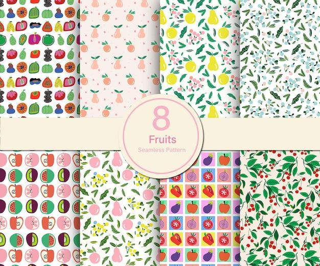 Frutta vettoriale e illustrazione del tema estivo 8 tipi di set di raccolta di modelli ripetuti senza soluzione di continuità
