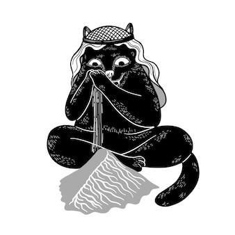 Gatto nero divertente di vettore che gioca con la sabbia e ha fatto una duna