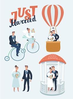 Illustrazione divertente del fumetto di vettore di scene di sposini felici. gli sposi vanno in bicicletta retrò, si baciano nel gazzebo nuziale e in mongolfiera. isolato su sfondo bianco. personaggi moderni.