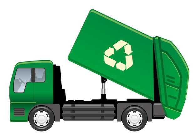 Camion di immondizia di vettore isolato su un bianco