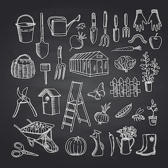 Icone di giardinaggio di scarabocchio di vettore sull'illustrazione nera della lavagna