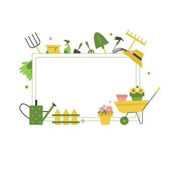 Poster di giardinaggio vettoriale con strumenti, fiori, stivali di gomma, lattina da giardinaggio e carriola.
