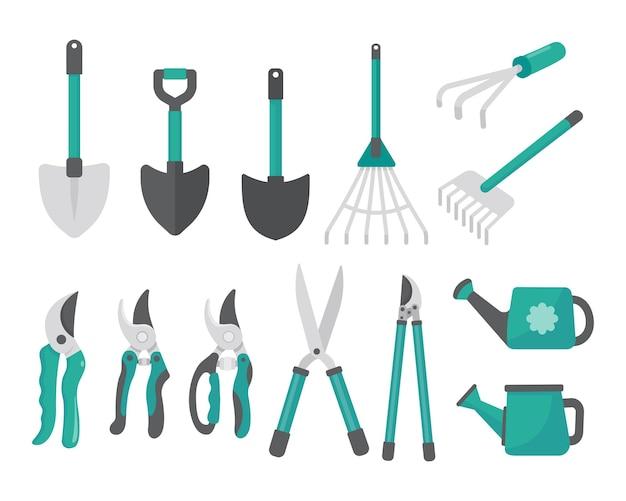 Insieme di strumenti di giardinaggio di vettore. semplice design grafico piatto isolato su uno sfondo bianco