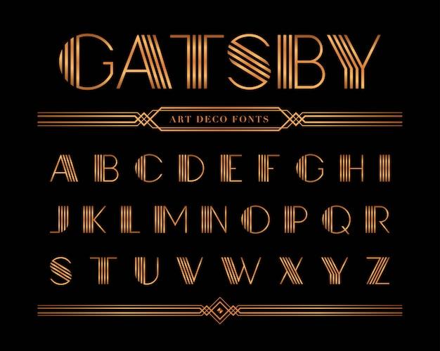 Vettore di carattere gatsby e alfabeto, set lettera d'oro.