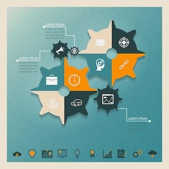 Concetto di affari di infographics degli ingranaggi di vettore con il posto del testo della formica delle icone