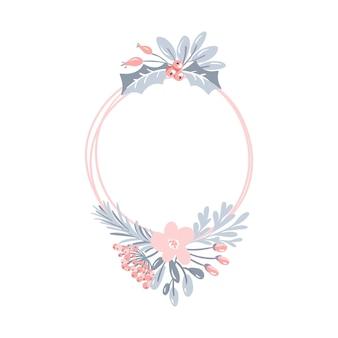 Blocco per grafici rotondo geometrico di vettore con la corona del mazzo. modello di natale per biglietto di auguri. coni invernali e fiore rosa