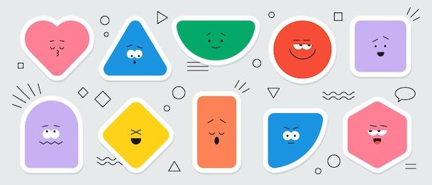 Adesivi geometrici vettoriali con diverse emozioni del viso