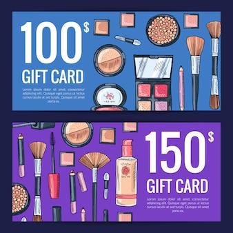Buoni della carta regalo vettoriale per prodotti di bellezza