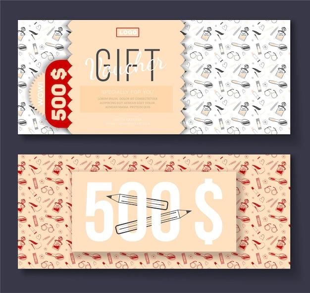 Buono regalo vettoriale con sfondo ornamento icone cosmetiche per volantino moda boutique salone di bellezza spa