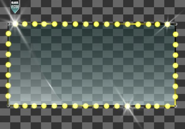 Banner di vetro vettoriale su sfondo trasparente. cornice di vetro trasparente vuota. sfondo vettoriale pulito.