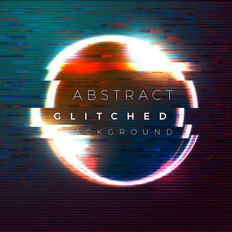 Banner glitch vettoriale, modello di progettazione poster in stile futurista, con cerchio luminoso nell'aria.
