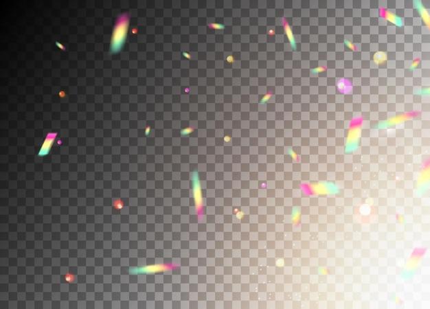 Spruzzo di sfondo coriandoli glitter vettoriale. festa scintillante di coriandoli colorati glamour che cadono