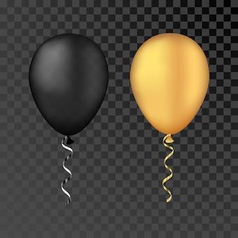 Palloncini vettoriali oro e neri su uno sfondo trasparente d realistiche vacanze felici che volano in aria...
