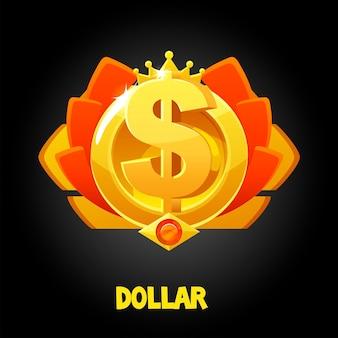 Premio del dollaro d'oro di vettore con la corona per il gioco. icona del premio in denaro per il vincitore.