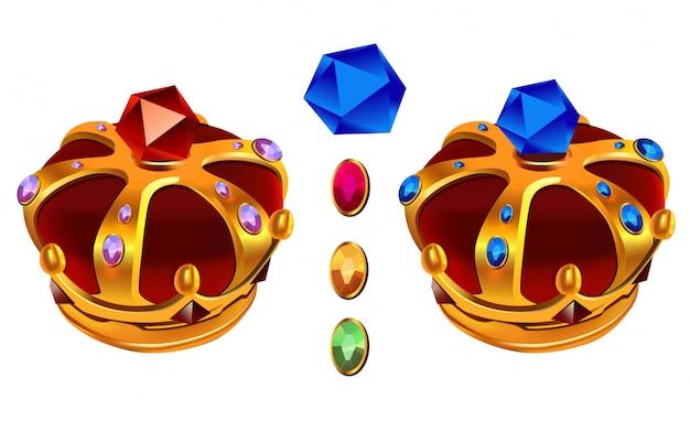 Corona del re dell'oro di vettore con le gemme per il gioco