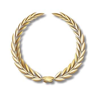 Corona di alloro vettoriale orocorona di alloro con nastro dorato