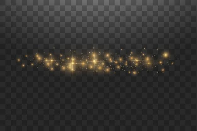 Illustrazione astratta dell'onda di scintillio della nuvola dorata di vettore. particelle scintillanti della traccia di polvere di stelle bianche isolate. concetto magico