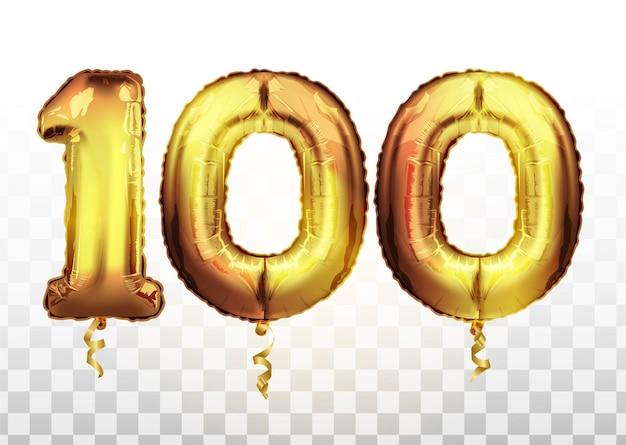 Vector palloncino metallico numero 100 di lamina d'oro. palloncini dorati decorazione festa. segno di anniversario per buone vacanze, feste, compleanni, carnevale, capodanno