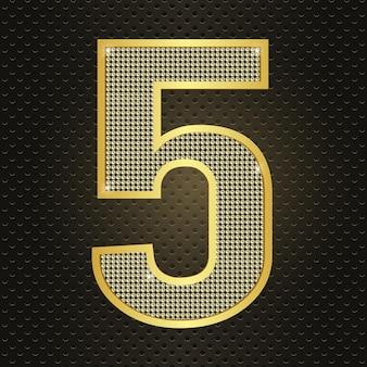 Vettore d'oro numero cinque 5 celebrazione dell'anniversario del quinto anno icona brillante realistica per il compleanno