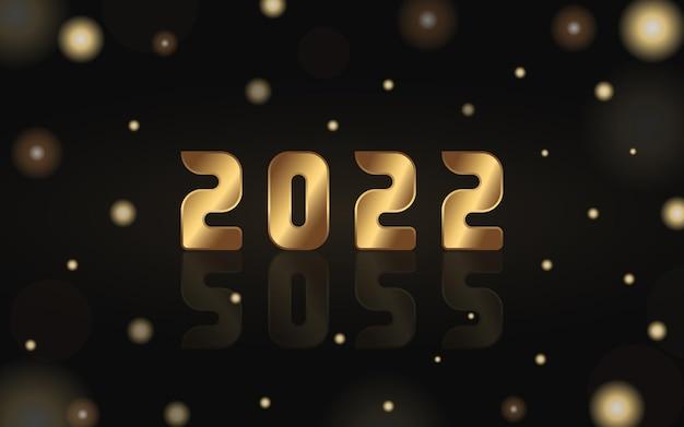 Numeri dorati vettoriali 2022 con riflesso sullo sfondo nero