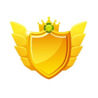 Scudo d'oro vettoriale con diamante per raggiungere le classifiche. premio in bianco dell'illustrazione per il vincitore.