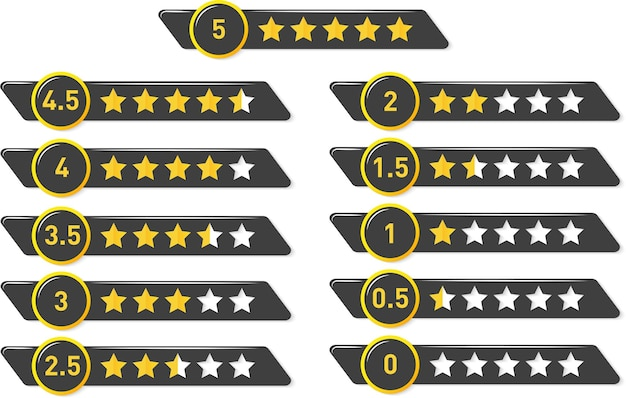 Vector golden lucido valutazione da 5 a 0 stelle stelle kit di elementi di design di valutazione